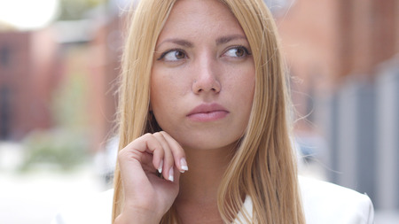 fantasize: Thinking Pensive Young Beautiful Girl, Outdoor Portrait Stock Photo
