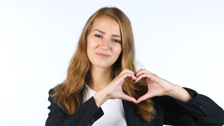 Businesswoman Making Heart With Hands , Peace ,White background