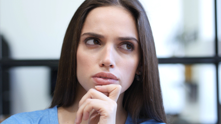 fantasize: Close Up of Thinking, Pensive Woman, Indoor