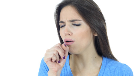 Coughing, Sick Woman Suffering From Cough, White Background Stock fotó