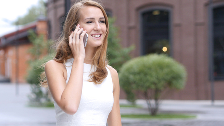 Talking on Phone, Beautiful Girl Attending Call, Outdoor