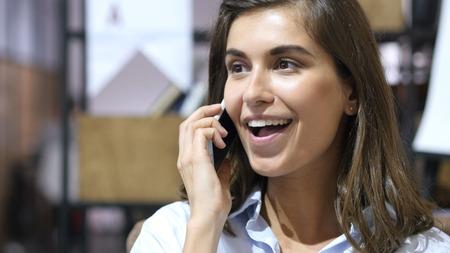 Happy Girl Talking on Phone, Portrait