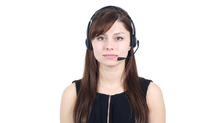 Portrait of Call Center Girl with Headphones