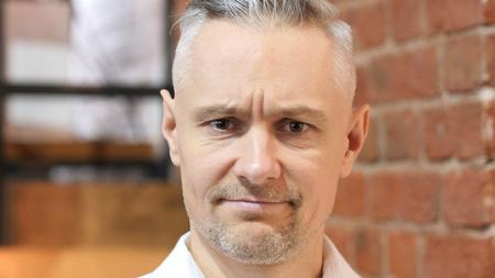 Sad Middle Age Man, Face Close up