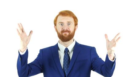 失敗のジェスチャー、赤髪ひげ実業家、巨大な損失を混乱させる 写真素材