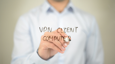 VPN Client Computer, writing on transparent screen Stock Photo