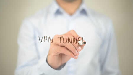 VPN Tunnel, writing on transparent screen