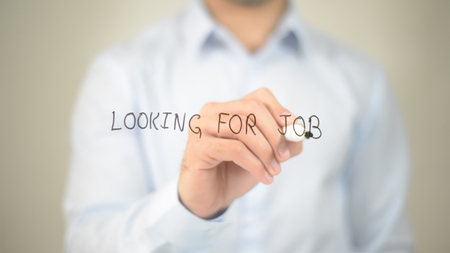 Looking for Job,  Man writing on transparent screen Stock Photo