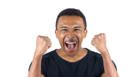 african business: Excited Black Man Celebrating His Success Stock Photo