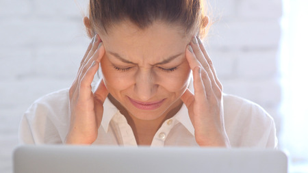 Headache, Frustrated Woman, Close Up Stock Photo