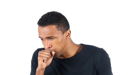 Sick Black Man Coughing, Cough Standard-Bild