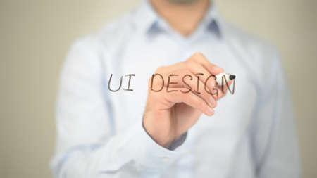 Ui Design, Man Writing on Transparent Screen