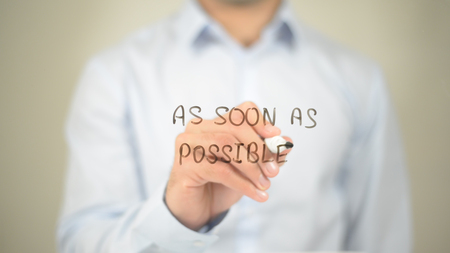 As Soon As Possible, Man writing on transparent screen Stock Photo - 85764043