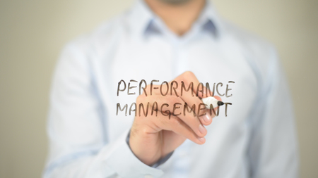 Performance Management  , writing on transparent wall Stock Photo