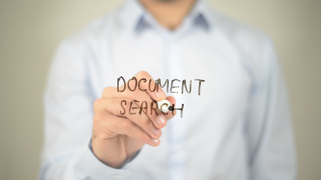 optimisation: Document Search, man writing on transparent screen