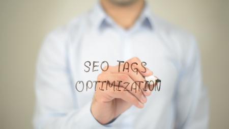 html: SEO Tags Optimization,  Man writing on transparent screen