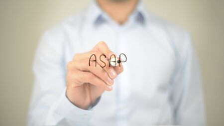 ASAP, As Soon As Possible, Man writing on transparent screen Stock Photo - 85829137
