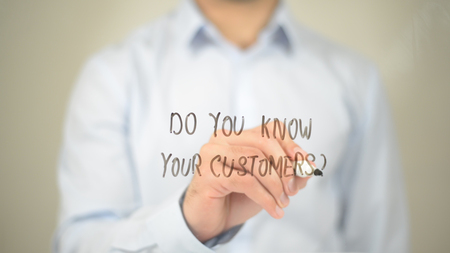 Do You Know Your Customers, Man writing on transparent screen