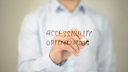 Accessibility Optimization, Man writing on transparent screen