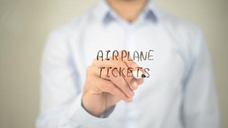 Airplane Ticket, man writing on transparent screen