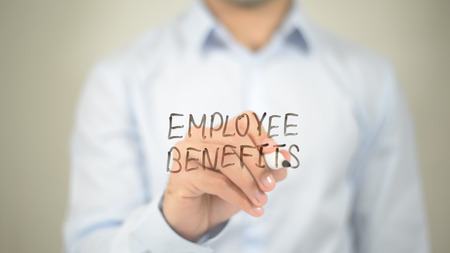 Employee Benefits  , writing on transparent wall Stock fotó - 86427865