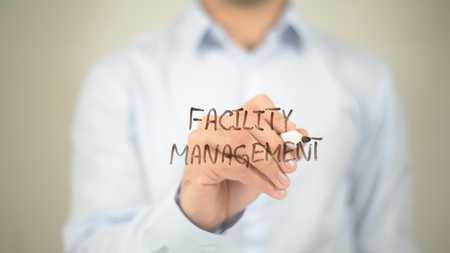 Facility Management  , writing on transparent wall
