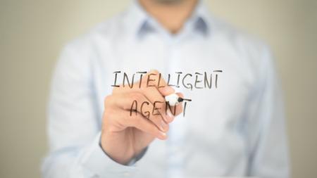Intellegent Agent , Man writing on transparent screen Imagens - 85553271