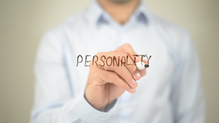 Personality   ,  man writing on transparent wall Stock Photo - 85701692
