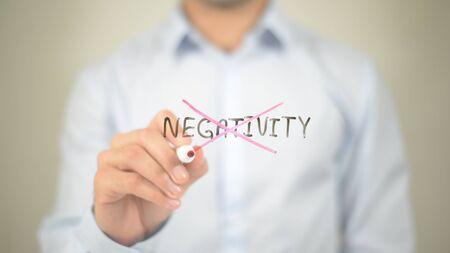 Say No To Negativity   ,  man writing on transparent wall