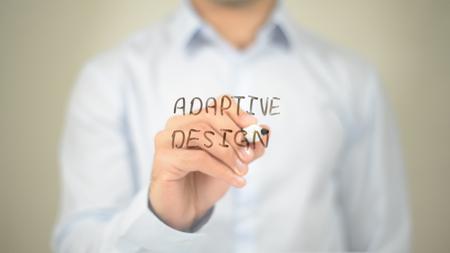 Adaptive Design, Man writing on transparent screen