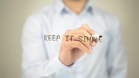 그것을 간단하게 유지하십시오, 투명한 화면에 글쓰기