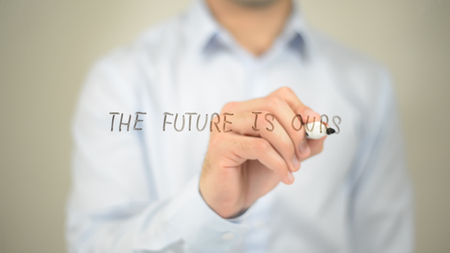 The Future Is Ours , man writing on transparent screen
