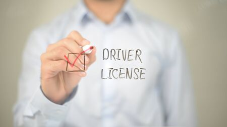 Driver License, Man Selecting on transparent screen