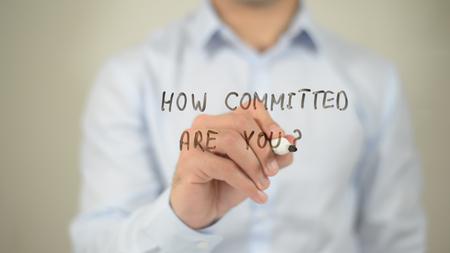 당신은 얼마나 헌신적입니까?, 투명한 화면에 글쓰기 스톡 콘텐츠