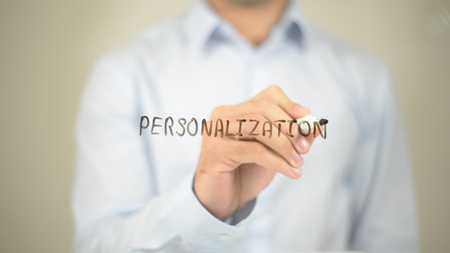 Personalization, man writing on transparent screen Stock Photo