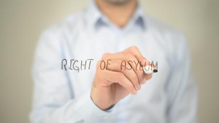Right Of Asylum , man writing on transparent screen