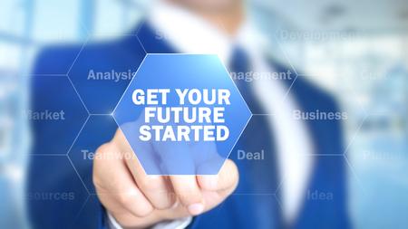 Lassen Sie Ihre Zukunft beginnen, Geschäftsmann, der an holographischer Schnittstelle, Bewegungsgraphiken arbeitet Standard-Bild - 85551004
