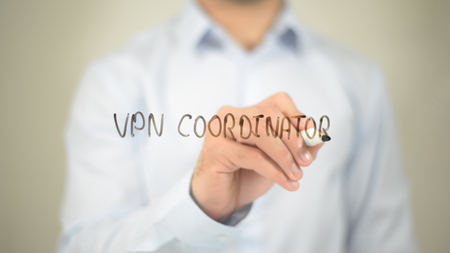 private domain: VPN Coordinator, writing on transparent screen Stock Photo