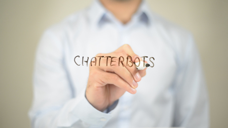 Chatterbots, Man writing on transparent screen