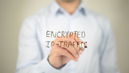 private domain: Ecnrypted IP-Traffic, writing on transparent screen Stock Photo