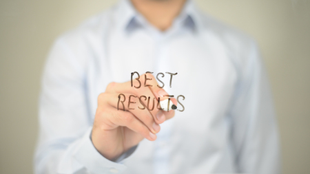 Best Results, Man writing on transparent screen
