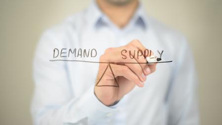 Demand Supply Concept Illustration,  Man writing on transparent screen