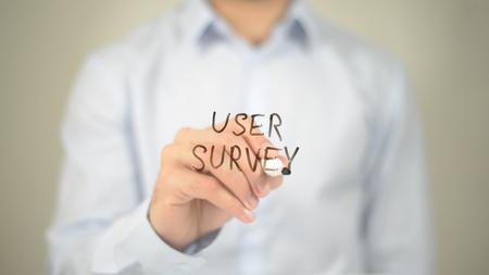User Survey, Man Writing on Transparent Screen Stock Photo