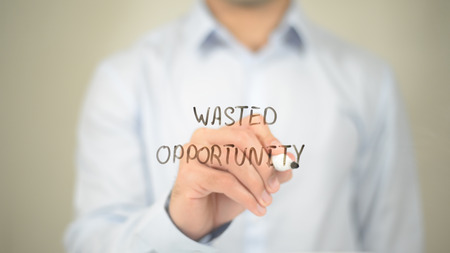 Wasted Opportunity, Man Writing on Transparent Screen Stock Photo