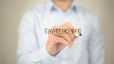 Shareholder,  Man writing on transparent screen