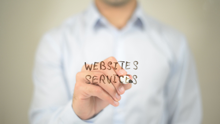 Website Service,  Man writing on transparent screen
