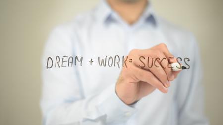 Dream + Work =Success, man writing on transparent screen Stock Photo