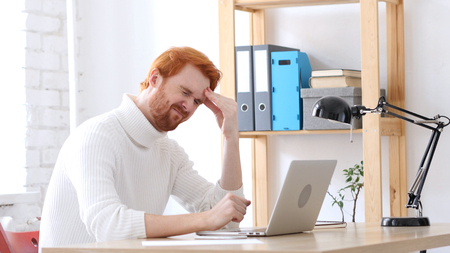 Headache, Man with Red Hairs with Head Pain and Frustration