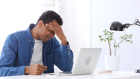 Headache,  Afro-American Man Working Under Pressure
