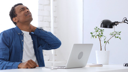 Pain in Muscles of Neck, Tired  Afro-American Man at Work